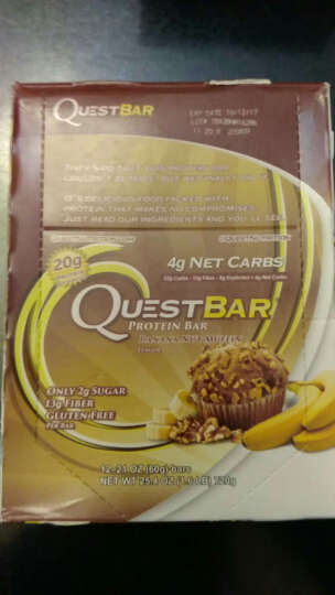 Quest进口乳清蛋白棒 低脂肪低热量低糖低碳水健身运动营养补剂代餐零食蛋白质 12根/盒 香蕉坚果松饼味 晒单图