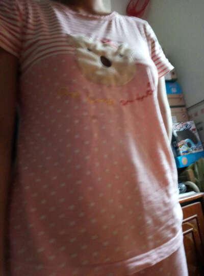 绿果 纯棉睡衣女夏季无袖背心短裤居家女士韩版卡通格纹家居服休闲套装 30147 XL(170) 晒单图