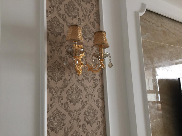 劳伦斯水晶壁灯欧式客厅过道楼梯墙壁灯单双头锌合金壁灯创意卧室床头灯玄关镜前LED灯0022 单头带罩-A款-圣诞树水晶 晒单图