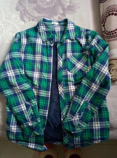 巴拉巴拉男童长袖衬衫中大童冬新款童装儿童纯棉加绒格子衬衣男厚 蓝绿色调 150 晒单图