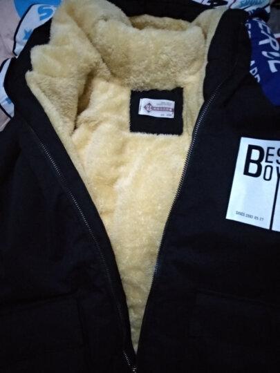 七彩班纳童装男童加绒外套冬装儿童上衣中长款加厚风衣2018冬季新品棉衣大码男孩大衣 黑色加绒 150((标准码) 晒单图