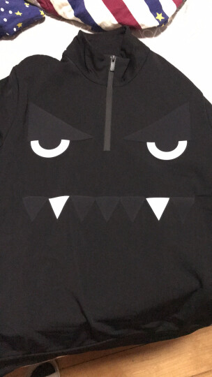 FENDI 芬迪男士新款混纺弹力小怪兽拉链立领长袖T恤卫衣外套FAE515 A0DH F0GME 黑色 L 晒单图