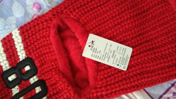 迈帽姿韩版加绒加厚毛线帽秋冬季女士套头针织帽骑车帽子防寒保暖护耳帽 大红 M(56-58cm) 晒单图
