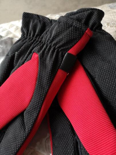 欧凡迪手套男冬保暖防滑骑行加厚加绒皮手套 蓝色 晒单图