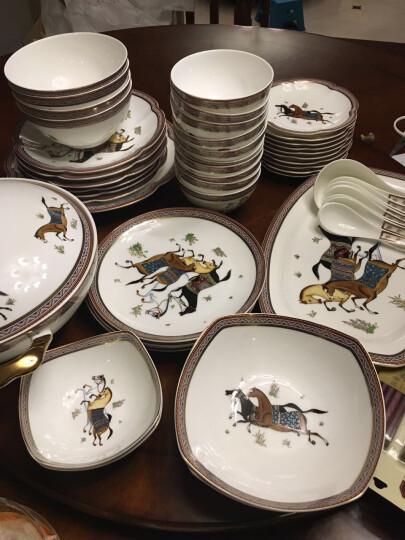 52头骨瓷陶瓷中餐具套装 欧式马图藤家用碗盘碟皇家骏马 皇家骏马 52头 晒单图