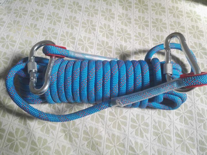 户外登山绳攀岩绳静力绳子 60米蓝色(直径10mm+2钢扣) 晒单图