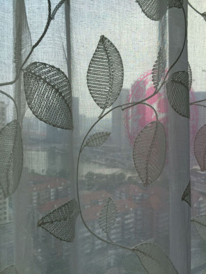 魔方 窗帘成品棉麻现代简约北欧风遮光布纱帘挂钩定制客厅卧室棉麻布料*森系蔓蔓 星辰-绿色布(可改高) 3.0宽*2.6高-布带挂钩(1片) 晒单图