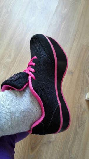 新品秋季网布透气负跟鞋女鞋颈椎腰椎K型健身运动休闲女单鞋摇摇鞋 黑玫红 37 晒单图