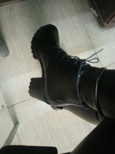 圣诗丹特秋冬女短靴马丁靴女靴子女马丁靴鞋子粗跟高跟厚底防水台马丁靴 女 棕色-绒里 35 晒单图