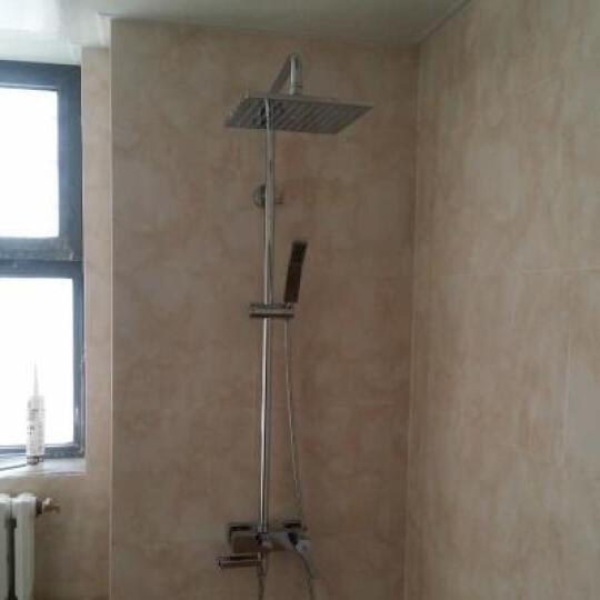 汉派全铜冷热挂墙式简易升降淋浴花洒套装增压明装顶喷淋浴器柱屏HP1005 恒温带下出水 晒单图