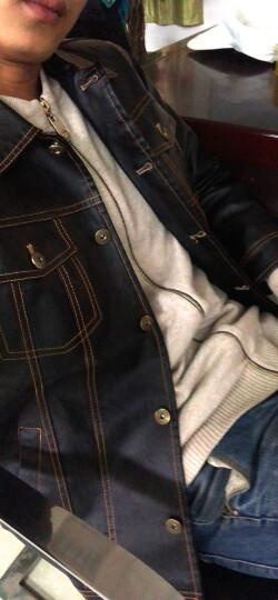 迈路易 皮夹克男士外套2018春秋季薄款仿皮皮衣PU皮机车韩版休闲修身短款外套男 黑色 XL 晒单图