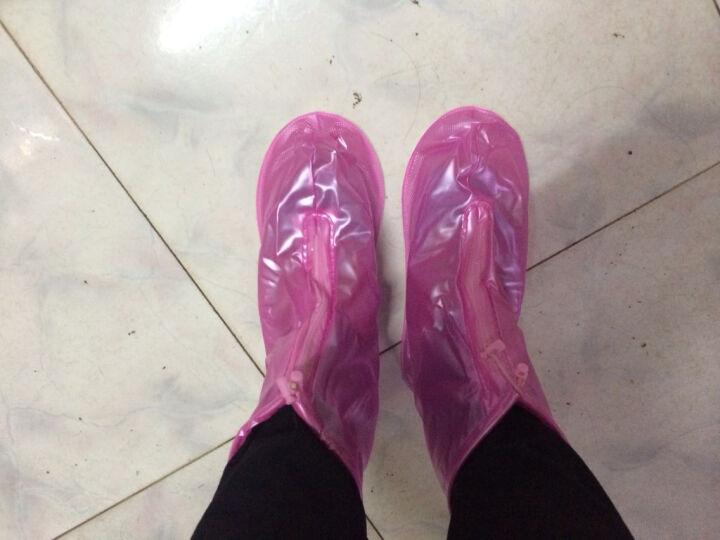 【2件8折】利雨防雨鞋套男女加厚底雨鞋耐磨防水鞋套儿童雨天防滑靴套 魔幻蓝 M 晒单图