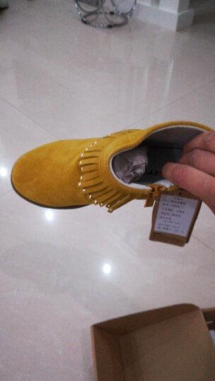 斯纳菲品牌童鞋女童靴子流苏烫钻秋冬季新品儿童公主单皮靴中大童短靴加绒棉鞋 玫红 26码/实测鞋垫长16.0cm 晒单图