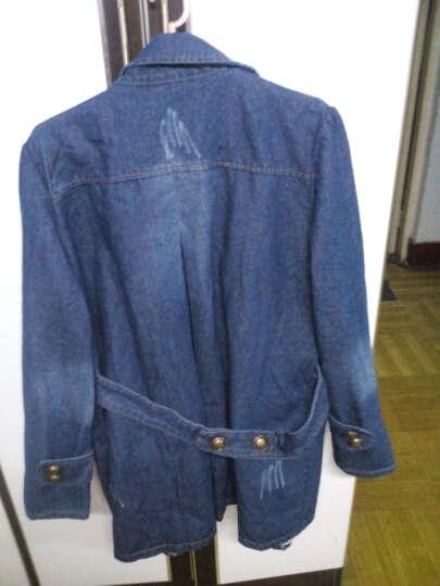 菲梵英牛仔外套长袖中长款秋装上新款韩版修身翻领宽松外套大衣风衣 蓝色-加绒款 M 晒单图