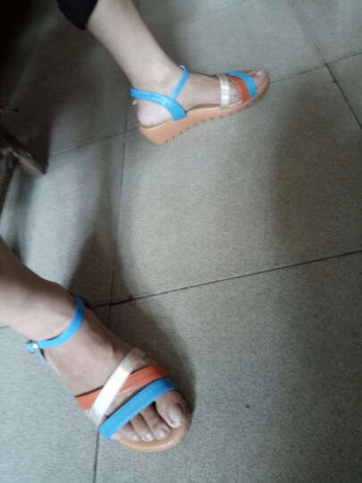 红蜻蜓凉鞋 时尚拼接凉鞋休闲女鞋 WNK61601/02/03 蓝色 39 晒单图