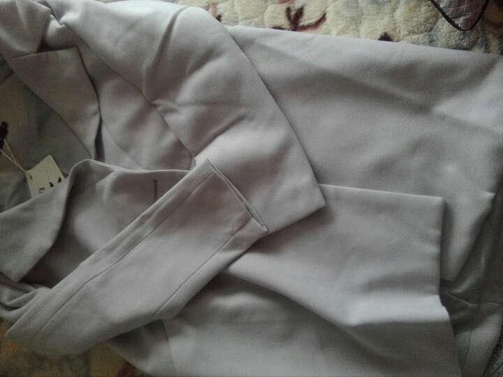阔意衣都(KuoyiHouse)8272毛呢大衣 秋冬款西装领呢子外套 双排扣大衣 浅灰色 M 晒单图