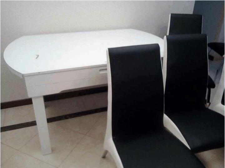 俏客 圆形餐桌餐椅套装 伸缩折叠餐桌多功能餐桌椅组合简约钢化玻璃餐桌小户型实木餐桌6人座 (1.35米)黑白色桌面(内置电磁炉) 一桌六椅 晒单图
