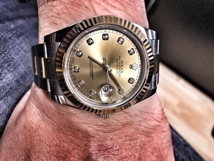 劳力士(ROLEX)手表 日志型II系列自动机械男表116333-72213 G象牙盘镶钻 晒单图