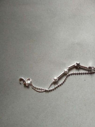 稀洛柯 925镀银脚链 小雏菊 四叶草 十字架脚链 YJL14双心 晒单图