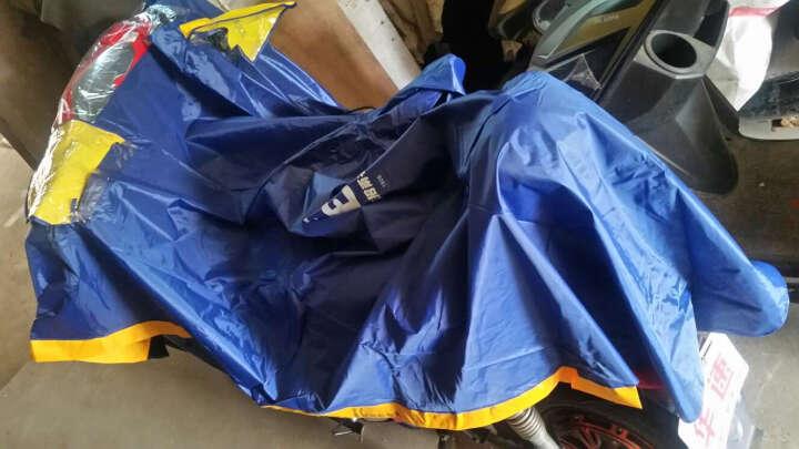 正招气囊式加大加长助动车摩托车雨披 电动车雨衣 单人318宝蓝+充气筒 均码 晒单图