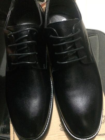 零度尚品 春夏新款英伦套脚真皮正装男士商务休闲鞋牛皮中帮男鞋子耐磨皮鞋 黑色 41 晒单图