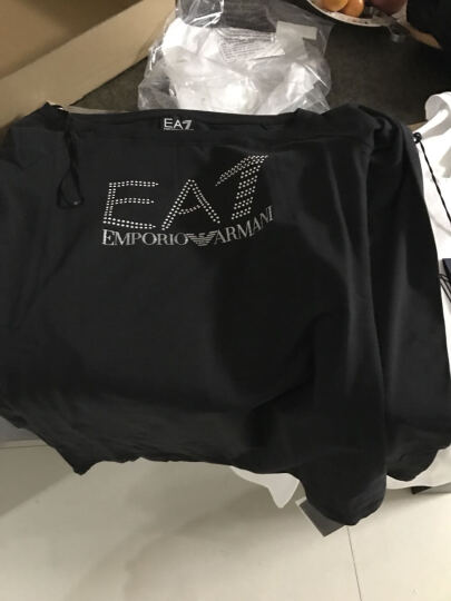 EMPORIO ARMANI EA7 阿玛尼 男士白色棉氨纶胶印图案圆领长袖T恤 6XPT88 PJ20Z 1100 L码 晒单图