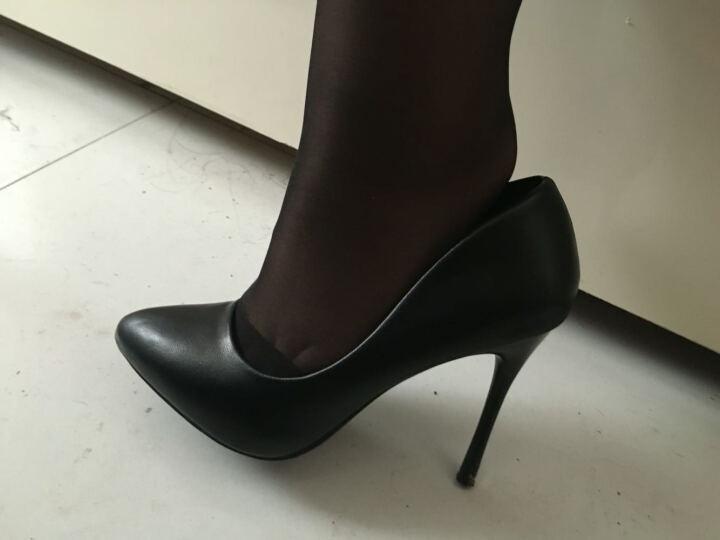 索盼 高跟鞋 10CM细跟尖头防水台哑光职业女单鞋漆皮2319 漆皮白色 36 晒单图