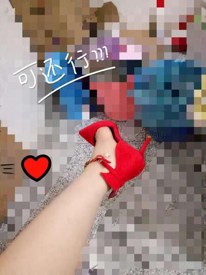 莱卡金顿高跟鞋女2017秋季新款时尚细跟性感高跟女靴气质通勤OL尖头女鞋 HL633K6红色 34 晒单图