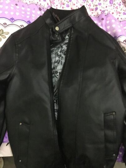 卡帝乐鳄鱼(CARTELO) 皮衣男 2017春季新款商务休闲男士修身薄款PU皮夹克 咖啡 加绒 XXL 晒单图