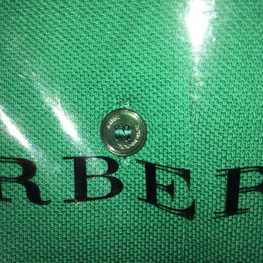 BURBERRY 巴宝莉 男款深蓝色棉质格纹开襟珠地网眼布短袖POLO衫 40106941 S码 180/92A 晒单图