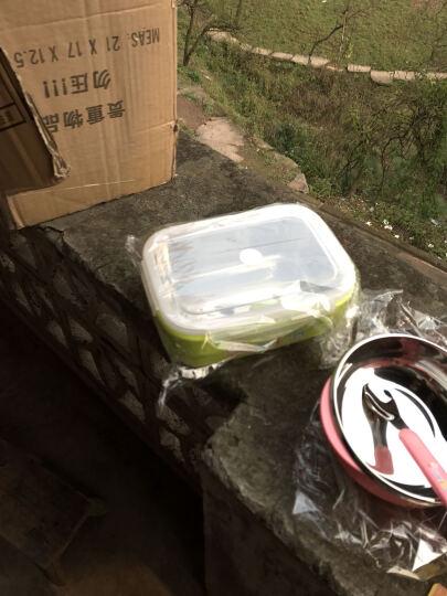 omilan 欧米兰学生饭盒 304不锈钢儿童便当盒方形餐盒密封防漏保鲜盒 900ML大号绿色 晒单图