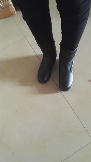 雅路世家新款女靴牛皮妈妈鞋 中老年坡跟厚底保暖舒适大码中筒马丁靴短靴加绒女鞋 7709黑色薄绒 38 晒单图