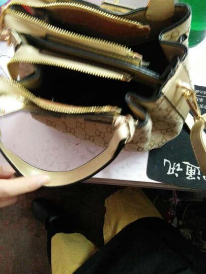 艾风尚女包2017春夏新款单肩斜挎包英伦格子包包帆布铂金包手提包皮带装饰 红色 晒单图