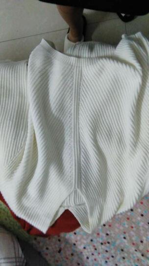 Amii [极简主义]  秋新宽松纯色V领肌理落肩落差摆毛衣11682177 黑色 L 晒单图