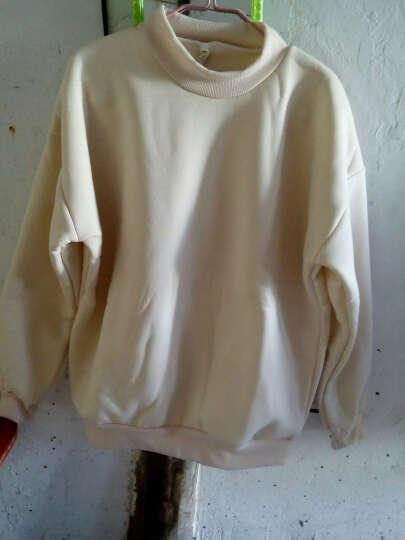 风采兔 棉质抓绒马卡龙糖果色纯色加绒小立领套头卫衣女学生春季打底上衣 9色 藏青色 M 晒单图