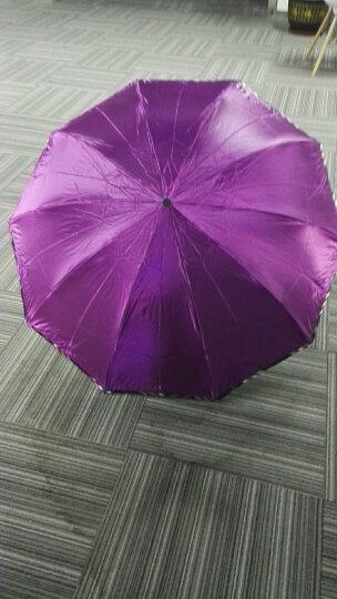 天堂伞 晴雨伞遮阳伞三折叠黑胶防晒防紫外线太阳伞加大双人经典商务伞 33188黑胶3#深紫 晒单图