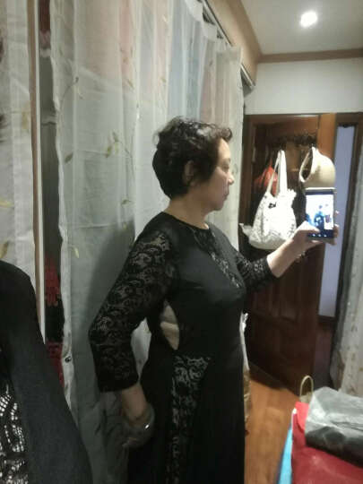 威娅纪2018欧美女装早春新款气质蕾丝连衣裙修身显瘦拖地长袖长款裙子 黑色短袖 S 晒单图