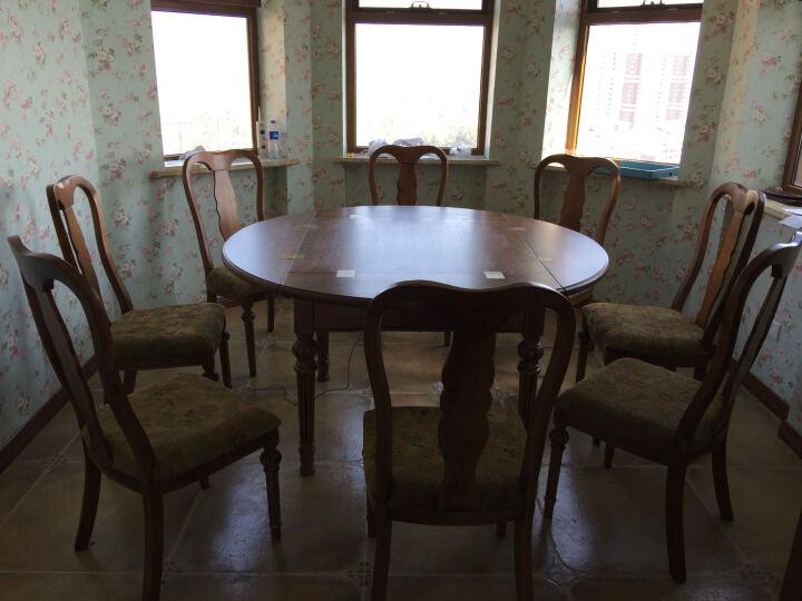 围乐美式全实木餐桌圆形吃饭桌可折叠餐桌椅组合1.5米多功能变形长桌10人桌麻将桌伸缩圆餐桌 餐桌+10椅+转盘 晒单图