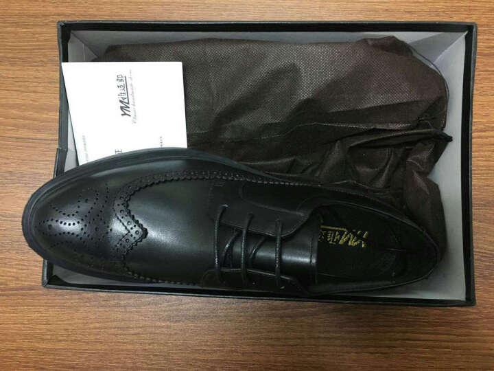 雅迈郎 商务休闲皮鞋男士布洛克雕花皮鞋男鞋真皮英伦软底舒适正装鞋 黑色 41 晒单图