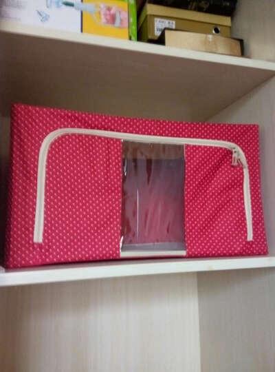 特大号收纳箱牛津布整理箱储物箱衣物棉被子收纳袋 塑料可视收纳柜收纳包钢架整理袋衣物收纳盒 藏青点点 88L (三钢架) 晒单图