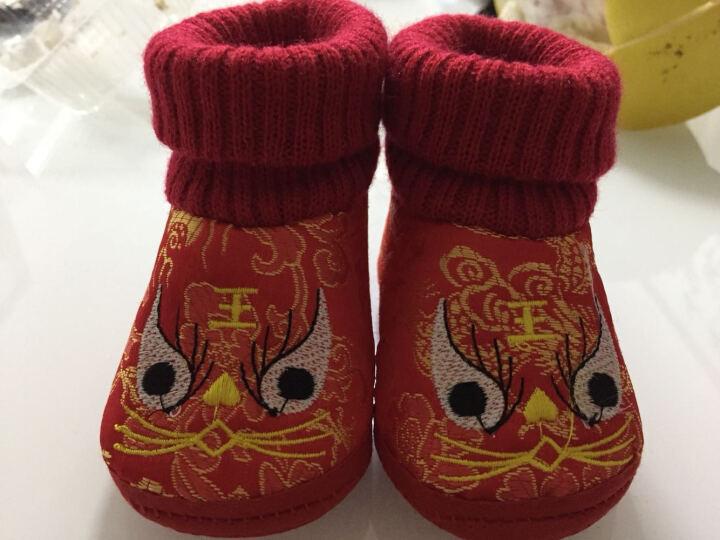 婴儿学步鞋宝宝鞋条绒面虎头鞋软底婴儿鞋0-1岁婴儿棉鞋配唐装满月百岁礼 虎头红 高腰 (12码/底长11cm) 晒单图