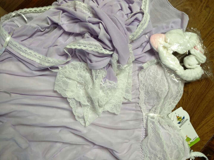 宾尼熊 蕾丝花边公主春季长袖纯棉莫代尔吊带睡裙女士夏季睡袍两件套家居服胸垫性感睡衣 薄款 黑色鹫尾 均码 建议体重70到125斤 晒单图