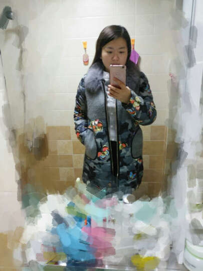 Pan'sPLOR2016冬装新品韩版修身大码女装狐狸毛领加厚羽绒服中长款时尚印花羽绒外套 蝴蝶迷彩色 XXL 晒单图