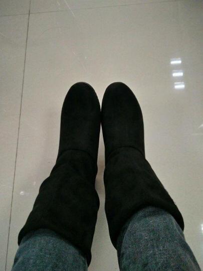邻家天使 新款中筒靴秋冬内增高女靴欧美时尚水钻流苏坡跟马丁靴一鞋二穿短靴 H806-30黑色 40 晒单图