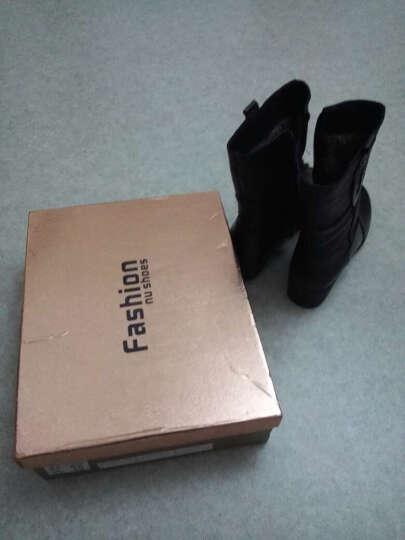 莎美茜女靴真皮马丁靴女士加绒保暖棉鞋舒适妈妈鞋欧美风潮流中筒靴子女 816红色单里 37 晒单图
