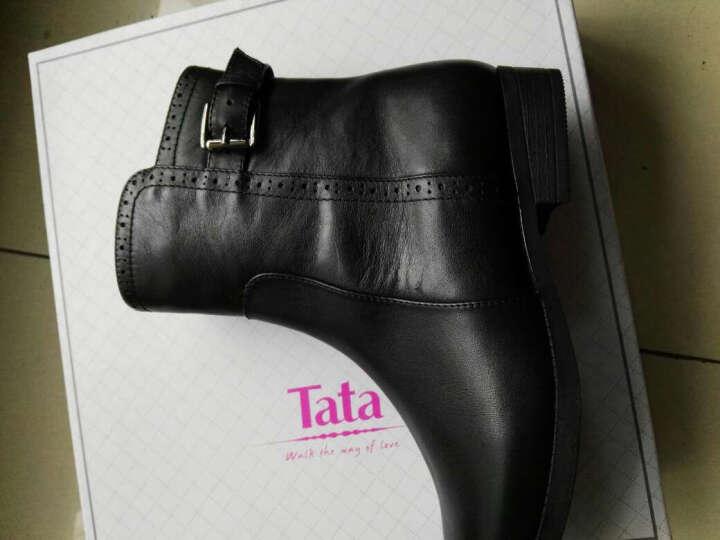 Tata/他她冬季专柜同款棕色油蜡牛皮女短靴(绒里)2YW56RD5 黑色 34 晒单图
