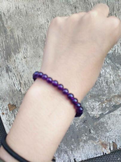 臻唯 艳浓深紫圆珠天然紫水晶手链 天然水晶手链 男女  漂亮紫罗兰色 14MM 晒单图