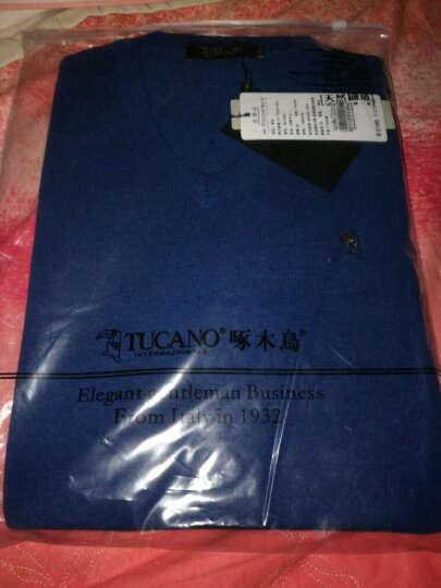 啄木鸟(TUCANO)新款羊毛衫男士V领针织衫时尚修身纯色毛衣男 君子兰 170/48 晒单图