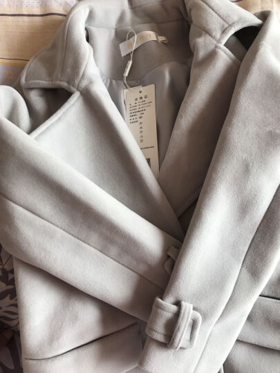 予人玫瑰毛呢大衣女2016秋冬季新款韩版毛呢女装外套中长款宽松加厚呢子大衣女百搭 米白色 M-建议95-110斤 晒单图