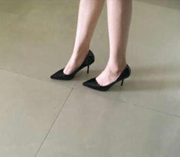 潘若斯高跟鞋女时尚尖头细跟性感单鞋女百搭女鞋 水蓝色 #37 晒单图